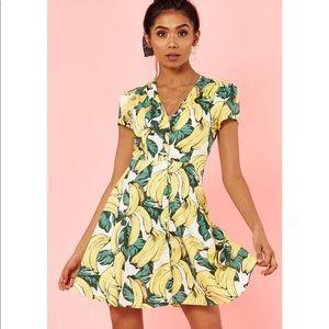 Glamours banana print skater dress L/XL